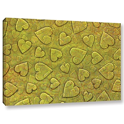 Zoomie Kids 'Large Heart Mixed Pattern' Graphic Art on Wrapped Canvas in Yellow