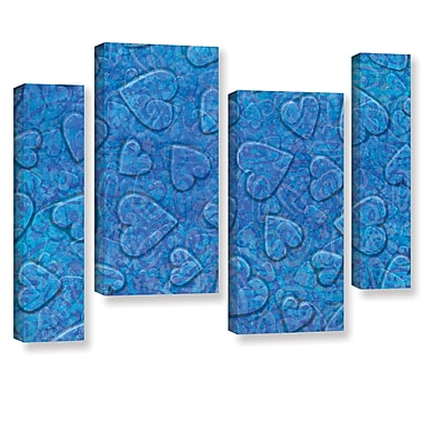 Zoomie Kids 'Large Heart Mixed Pattern' 4 Piece Graphic Art on Wrapped Canvas Set in Blue