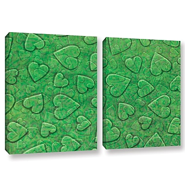 Zoomie Kids 'Large Heart Mixed Pattern' 2 Piece Graphic Art on Wrapped Canvas Set in Green