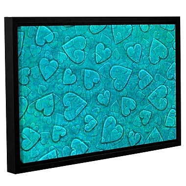 Zoomie Kids 'Large Heart Mixed Pattern' Framed Graphic Art on Wrapped Canvas in Mint
