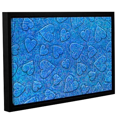 Zoomie Kids 'Large Heart Mixed Pattern' Framed Graphic Art on Wrapped Canvas in Blue