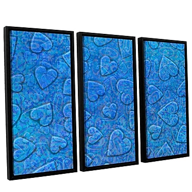 Zoomie Kids 'Large Heart Mixed Pattern' 3 Piece Framed Graphic Art on Wrapped Canvas Set in Blue