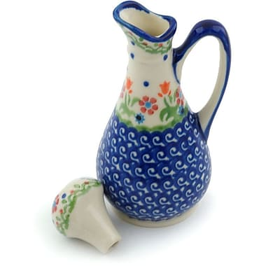 Polmedia Spring Flowers Polish Pottery 5 oz. Decorative Bottle