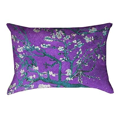 Bloomsbury Market Lei Almond Blossom Double Sided Print Lumbar Pillow; Purple/Blue