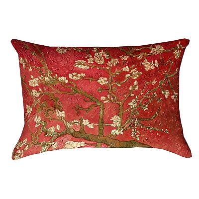 Bloomsbury Market Lei Almond Blossom Double Sided Print Pillow Cover w/ Zipper; Red