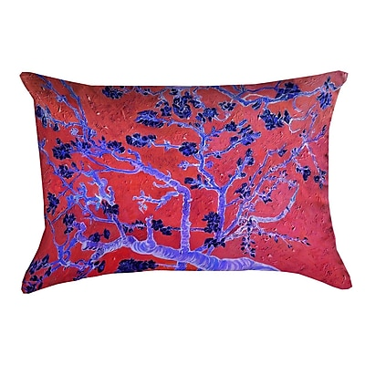 Bloomsbury Market Lei Almond Blossom 100pct Cotton Lumbar Pillow; Red/Blue
