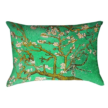 Bloomsbury Market Lei Almond Blossom Rectangular Lumbar Pillow; Green