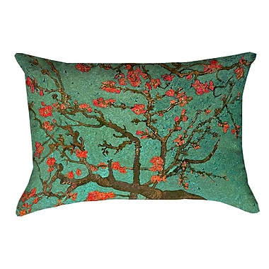 Bloomsbury Market Lei Almond Blossom Rectangular 100pct Cotton Pillow Cover; Green/Red