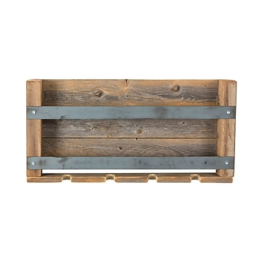 Union Rustic Elias Dual Bar Reclaimed Wood 4 Bottle Wall Mounted Wine Bottle and Glass Rack