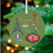 Oopsy Daisy Personalized Wander the World France Hanging Ornament