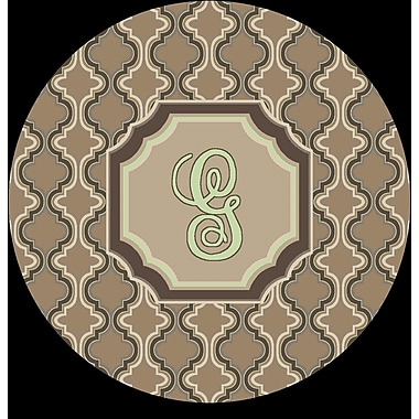 Red Barrel Studio Lanikai Monogrammed Green/Brown Area Rug; G
