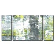 Corrigan Studio 'Gray and Yellow Dashes' Acrylic Painting Print Multi-Piece Image on Canvas