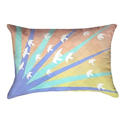 Brayden Studio Enciso Birds and Sun Pillow Cover; Blue/Orange