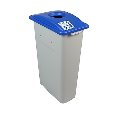 Busch Systems Waste Watcher Cans and Bottles Circle Single 23 Gallon Recycling Bin; Blue/Gray