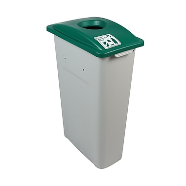 Busch Systems Waste Watcher Cans and Bottles Circle Single 23 Gallon Recycling Bin; Green/Gray