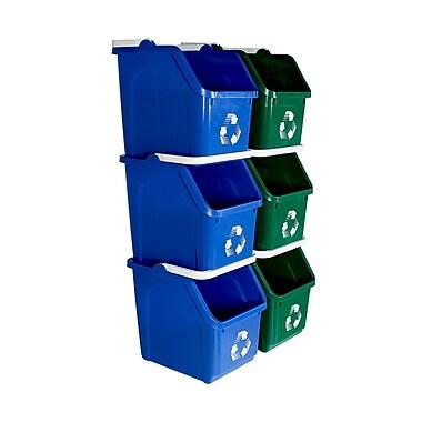 Busch Systems Mobius Loop 6 Piece 6 Gallon Recycling Bin Set; Green/Blue