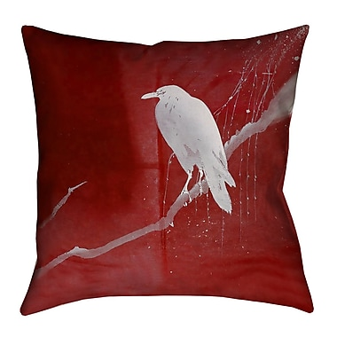 Latitude Run Hansard Crow and Willow Square Indoor Euro Pillow; Red/White