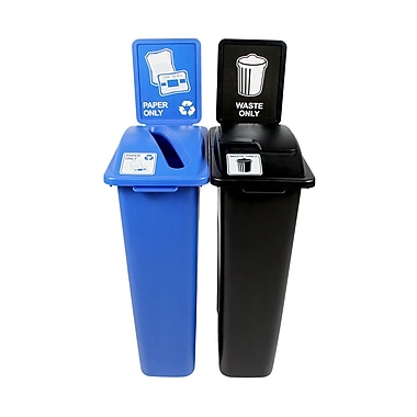 Waste Watcher Paper Slot Solid Lift Double 46 Gallon 2 Piece Recycling Bin and Trash Can Set