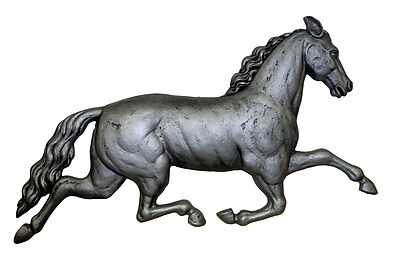 Darby Home Co Traditional Running Horse Plaque Wall Decor; Antique Sliver