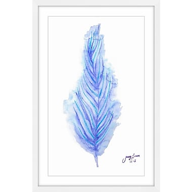 Latitude Run 'Purple Feather' Framed Watercolor Painting Print; 30'' H x 20'' W