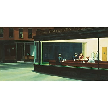 Winston Porter 'Nighthawks' by Edward Hopper Print on Wrapped Canvas; 17'' H x 34'' W