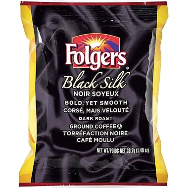 Folgers Black Silk Dark Roast Pre-Measured Ground Coffee, 39.7 g (1.4 oz.), 42/Pack