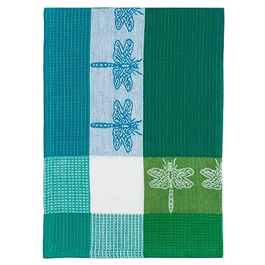 August Grove Patterned Dragonfly 100pct Cotton Dishcloth (Set of 6); Blue/Green