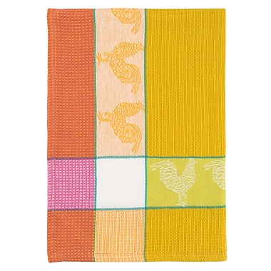 August Grove Rooster 100pct Hand Woven Cotton Dishcloth (Set of 6); Yellow