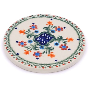 Polmedia Spring Flowers Polish Pottery Coaster