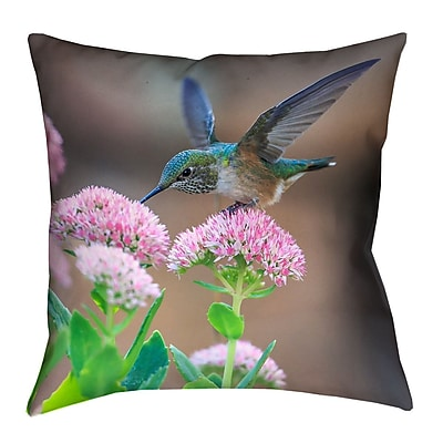 Latitude Run Holte Hummingbird Faux Linen Throw Pillow; 18'' x 18''