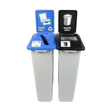 Busch Systems Waste Watcher Paper Slot Double 46 Gallon 2 Piece Recycling Bin and Trash Can Set