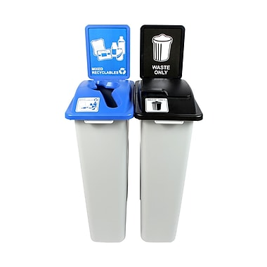 Waste Watcher Mixed Recyclables Solid Lift Double 46 Gallon 2 Piece Recycling Bin and Trash Can Set