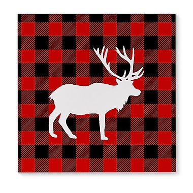 The Holiday Aisle 'Deer Plaid' Graphic Art Print on Canvas