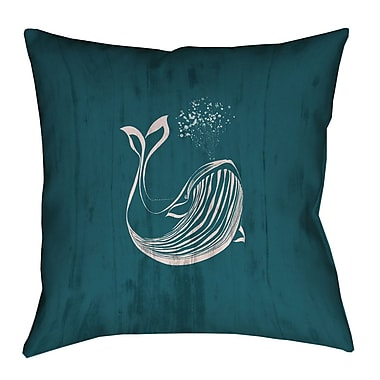 Longshore Tides Lauryn Rustic Whale Square Outdoor Throw Pillow; 20'' x 20''