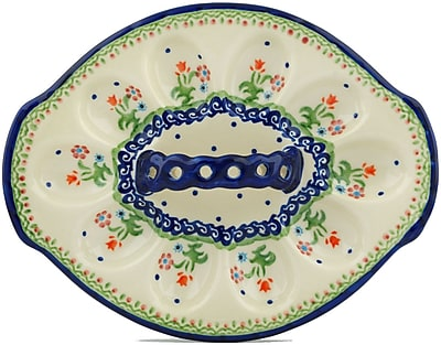 Polmedia Polish Pottery Spring Flowers Egg Plate