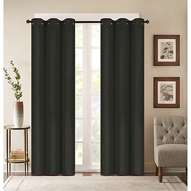 Breakwater Bay Benham Embossed Striped Blackout Grommet Curtain Panels (Set of 2); Black