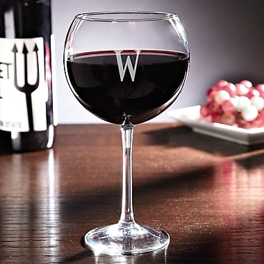 Darby Home Co Cheyne Personalized 19 Oz. Red Wine Glass (Set of 4); M