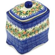 Polmedia Polish Pottery Elegant Garland w/ Lid Kitchen Canister
