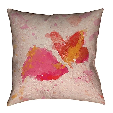 ArtVerse Katelyn Smith Pink Watercolor Butterfly and Rose Pillow Cover; 20'' x 20''