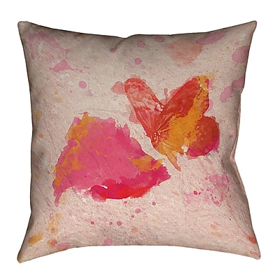 ArtVerse Katelyn Smith Watercolor Butterfly and Ros Throw Pillow; 16'' x 16''