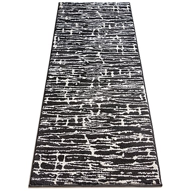 Bloomsbury Market Honaye Modern Geo Lines Black/White Area Rug; Runner 2'3'' x 7'3''
