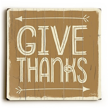 Ivy Bronx 'Give Thanks' Textual Art on Wood; 18'' H x 18'' W