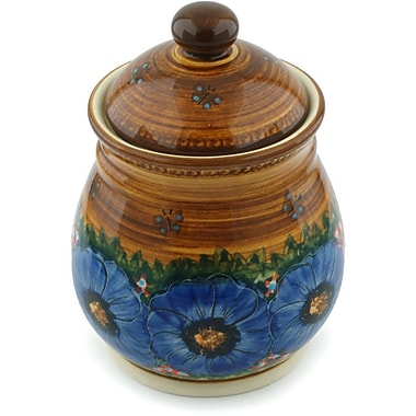 Polmedia Polish Pottery Tropical Wildflowers w/ Lid Kitchen Canister