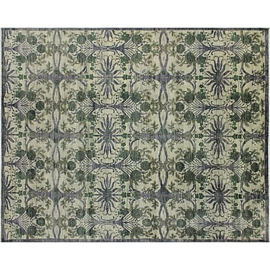 Bloomsbury Market Harkness Hand-Knotted Wool Gray/Green Area Rug