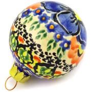 Polmedia Aztec Flowers Polish Pottery Ball Ornament