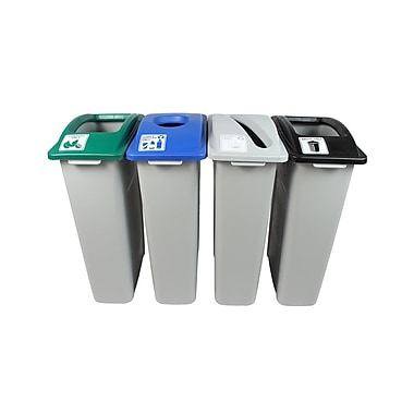 Waste Watcher Organics, Paper, Cans and Bottles Slot Circle 92 Gallon 4 Piece Recycling Bin Set