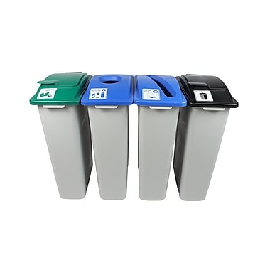 Waste Watcher Paper, Cans and Bottles Slot Compost Circle Solid Lift Quad 92 Gallon Recycling bin
