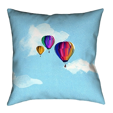 Latitude Run Hot Air Balloons SquareThrow Pillow; 18'' x 18''