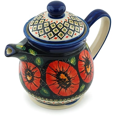 Polmedia Poppy Passion Polish Pottery Pitcher; 8.03'' H x 5.91'' W x 9.57'' D