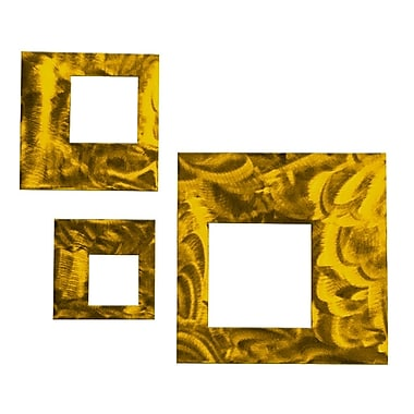 Orren Ellis 3 Piece Contemporary Squares Metal Wall D cor Set; Candy Yellow